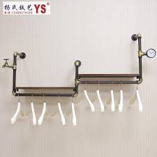Wall Coat Rack With Storage Retro Iron Pipe Coat Rack Clothing Store Shelf Hanging Rod Side In 82