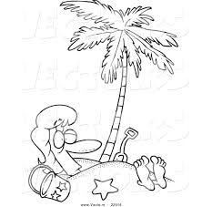 Vector of a Cartoon Woman Buried in Sand Under a Palm Tree ...