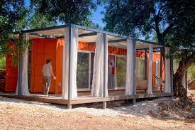 Small Picture Nomad Living a shipping container guest house that expands out to