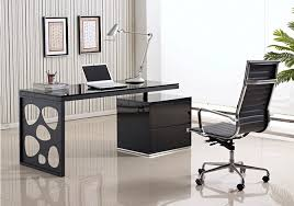 Modern Office Desk in Black Lacquer