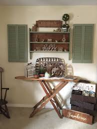 farmhouse style home decor shutters and woden shelving
