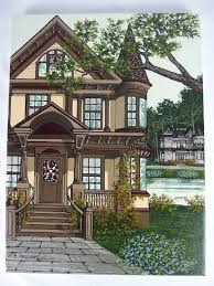 h hargrove serigraph on canvas hand signed victorian houses vibrant colors