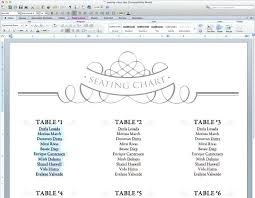 Wedding Table Chart Template