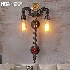 Retro industrial lighting fixtures Steel Pendant Light Injuicy Lighting Loft Retro Industrial Clock Metal Water Pipe Steampunk E27 Edison Wall Lights Sconces Vintage Amazoncom Injuicy Lighting Loft Retro Industrial Clock Metal Water Pipe