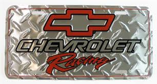 chevrolet racing logo. chevrolet racing license plate w red bowtie logo and diamond plating f