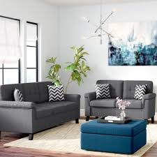 Contemporary living room gray sofa set Light Gray Quickview Blue Grey Wayfair Grey Living Room Sets Youll Love Wayfair