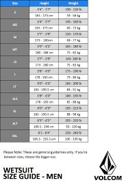 Volcom Wetsuit Size Chart Thewaveshack Com