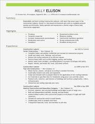 Construction Laborer Resume Beautiful General Construction Worker