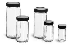 clear glass jars clear glass paragon jars w lined black ribbed plastic caps