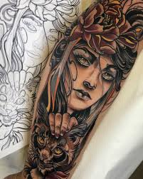 Follow At Tattoowonderland On Pinterest For More Woman And Cat