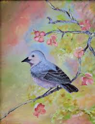 fine art painting an arizona native bird a small blue and pink bird
