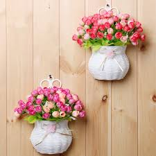 Plastic vase with silk flowers hanging basket container for flower plant  home party wedding decoration DIY flower set-in Artificial & Dried Flowers  from ...