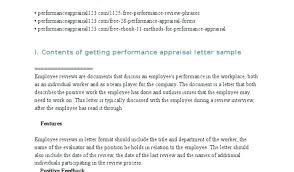 Employee Performance Letter Sample Appraisal Letter Template Technical Operations Manager Hr