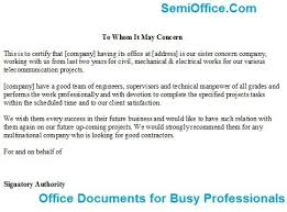 Contractor Recommendation Letter Format