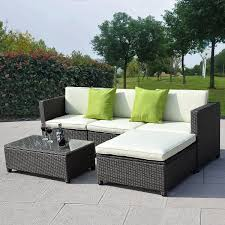 Outdoor Couch Sets 5 Piece Black Rattan Outdoor Patio Furniture
