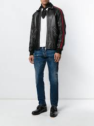 dsquared2 studded leather jacket qpwrw43930 mens clothing