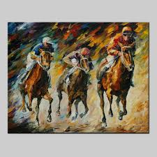 100 hand painted palette knife oil painting on canvas large canvas art horse racing