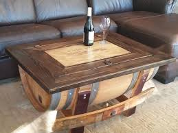 ... Coffee Table, Glamorous Brown Rectangle Farmhouse Wood Barrel Coffee  Table Idea To Setup Living Room ...