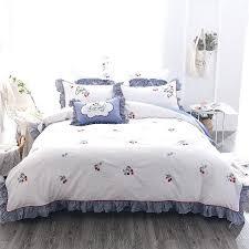 cherry bedding luxury cotton sweet cherry bedding set embroidery ruffles duvet cover bed sheet pillowcases queen cherry bedding