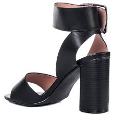 stacey wide fit block heel sandals shoes black leather style