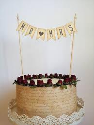 Mr Mrs Wedding Cake Topper Pennant Rustic Vintage Banner Cake