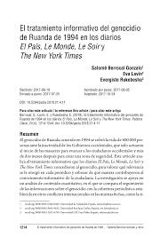 """PDF) El tratamiento informativo del genocidio de Ruanda de 1994 en los  diarios """"El País"""", """"Le Monde"""", """"Le Soir"""" y """"The New York Times"""""""