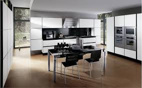modern white and black kitchens. White Cabinets Painted Using Black Gloss Acrylic Backsplash Also Simple Breakfast Table Set In Modern Small And Kitchen Kitchens N