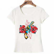<b>2019</b> New Fashion <b>Summer</b> Tattoo <b>T</b>-<b>Shirt</b> Cute <b>Women T Shirt</b> Gun ...