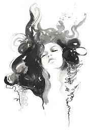 Black Ink Fashion Watercolor Print Fashion Illustration Print