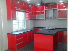 kitchen cabinet high gloss 3g glass chili red with solid surface