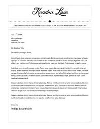Kendra Love Cover Letter Template for Microsoft Word
