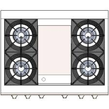 Capital Culinarian 36 Inch 4 Burner Natural Gas Range With Thermo