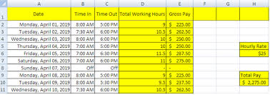 Excel Formula For Timesheet Guide To Creating A Timesheet In Excel Excelchat