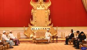 president u win myint accepts letters of credence of ambador of lao