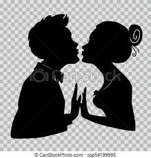 Silhouettes Of Loving Couple Lovers Kissing Illustration On Transparent Background For Valentines Day