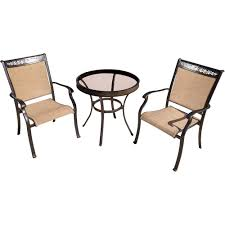 hanover fontana 3 piece aluminum outdoor bistro set with round glass top table