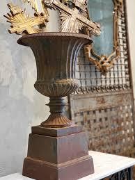 pair of 19th century cast iron urns on