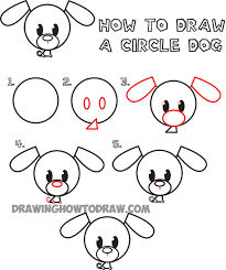 cute dogs drawings step by step. Exellent Dogs Easy Step By Drawings For Kids  Big Guide To Drawing Cute Circle  Animals Easy Step  For Dogs Drawings By U