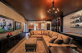 charming man cave with chandelier