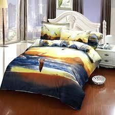 new york skyline duvet cover king size sunset skyline ocean and bird 3d oil painting bedding