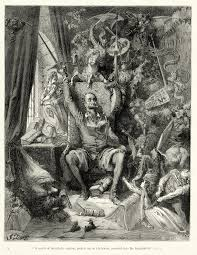 don quixote goes mad from his reading of books of chivalry engraving by gustave doré