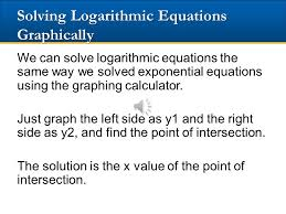 20 solving logarithmic equations graphically
