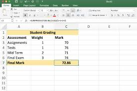 Excel Assignments How To Calculate Weighted Averages In Excel With Sumproduct