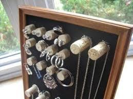 Create a wine cork jewelry organizer.