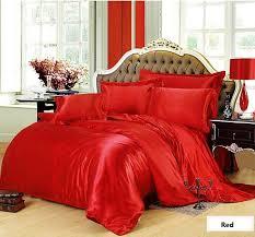 silk bedding set red super king size