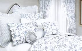image of blue french toile baby bedding