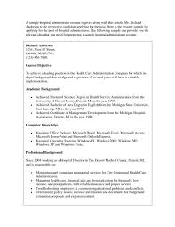 Resume Hospital Administration Resumes Templateales Top Cover Letter