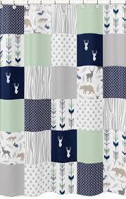 navy mint and grey woodsy kids bathroom fabric bath shower curtain by sweet jojo designs