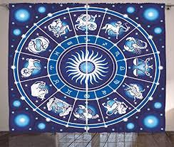 Zodiac Circle Chart Amazon Com Ambesonne Zodiac Decor Curtains Illustration Of