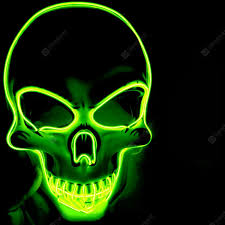 <b>LED Neon Fashion Halloween</b> Party Luminous Mask Green Yellow ...